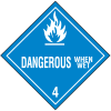 DOT Dangerous When Wet Hazard Class 4 Material Shipping Labels