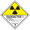 DOT Radioactive II Hazard Class 7 Material Shipping Labels