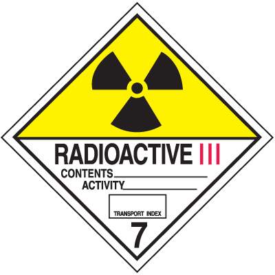 DOT Radioactive III Hazard Class 7 Material Shipping Labels