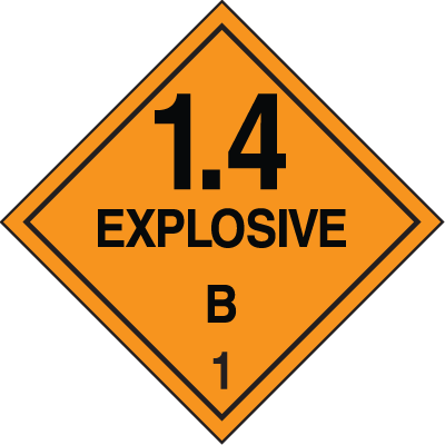 DOT Explosive 1.4 B Hazard Class 1 Material Shipping Labels