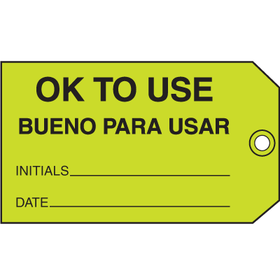 Ok To Use Bueno Para Usar Maintenance Tags