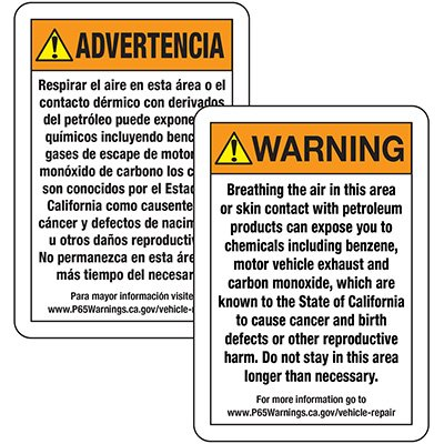 Prop 65 Vehicle Repair Warning Signs