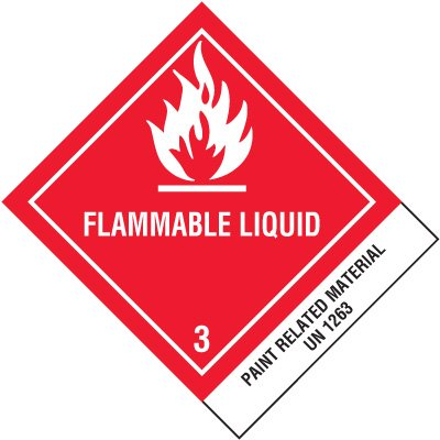 Flammable Liquids UN1263 DOT Placard Shipping Labels