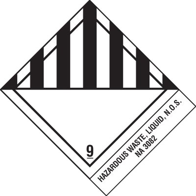 Hazardous Liquid Waste DOT Shipping Label