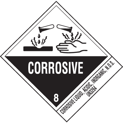 Corrosive Liquid UN3264 DOT Shipping Labels