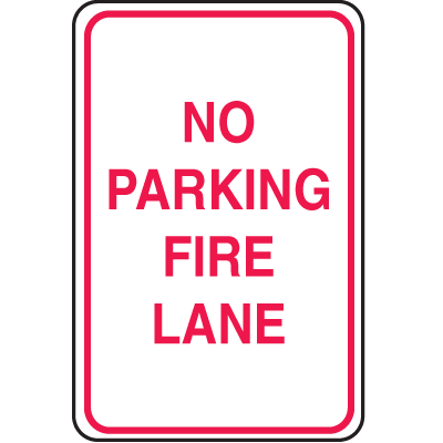 Plastic No Parking Signs - No Parking Fire Lane