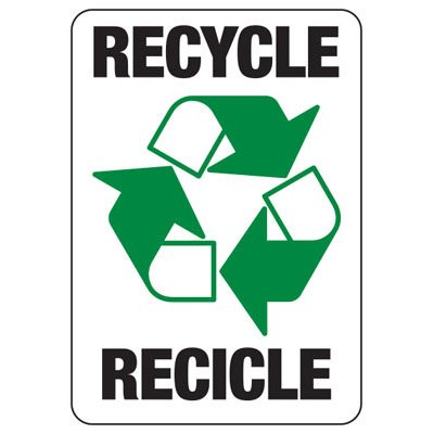 Bilingual Recycle - Recycling Sign