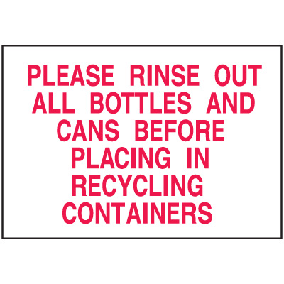Recycling Signs - Rinse Out Bottles