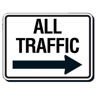 Reflective Parking Lot Signs - All Traffic (Right Arrow)