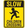 Reflective Pedestrian Crossing Signs - Slow Children Crossing