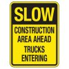 Reflective Traffic Reminder Signs - Slow Construction Area Ahead
