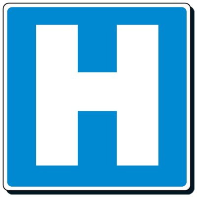 Reflective Traffic Signs - Hospital (Symbol)