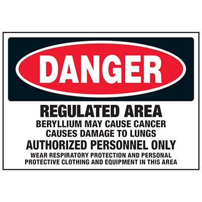 Regulated Area Beryllium Labels