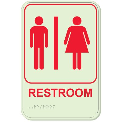 Restroom/Man/Woman - Glo-Brite® ADA Braille Signs