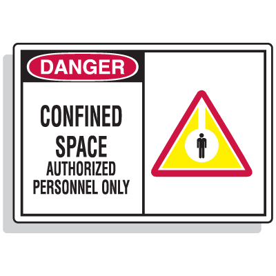 Safety Alert Signs - Danger - Confined Space Authorized Personnel Only