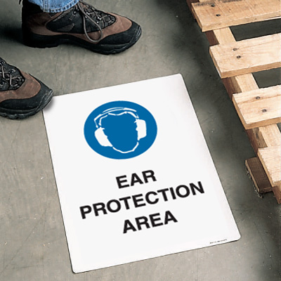 Safety Floor Signs- Ear Protection Area (With Graphic)