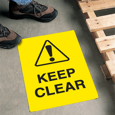 Safety Floor Signs- Keep Clear (With Graphic)