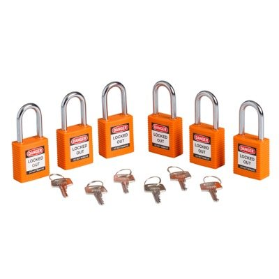 Brady Keyed Alike One and Half inch Shackle Safety Locks - Orange - Part Number - 123268 - 3/Pack
