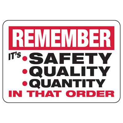 Remember It's Safety Quality Quantity - Safety Reminder Signs