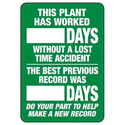 This Plant Has Worked Days - Write-On Wipe-Off Scoreboard Signs