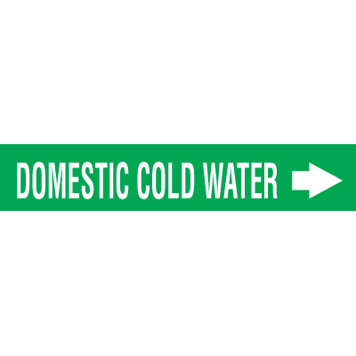 Self-Adhesive Wrap Around Pipe Labels - Domestic Cold Water