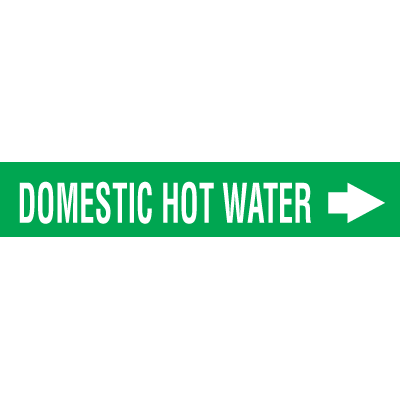 Self-Adhesive Wrap Around Pipe Labels - Domestic Hot Water