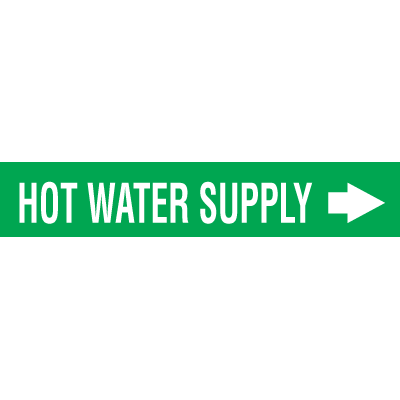 Self-Adhesive Wrap Around Pipe Labels - Hot Water Supply