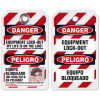 Self-Laminating Employee Photo Lockout Tags- Danger Equipment Lock Out (Bilingual)