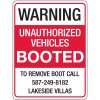 Semi-Custom Auto Boot Warning Signs