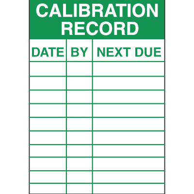 Calibration Record Service Labels