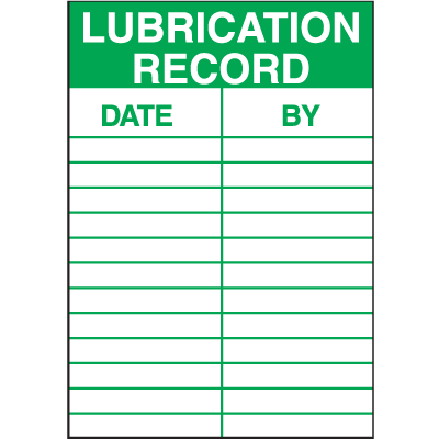 Lubrication Record Service Labels