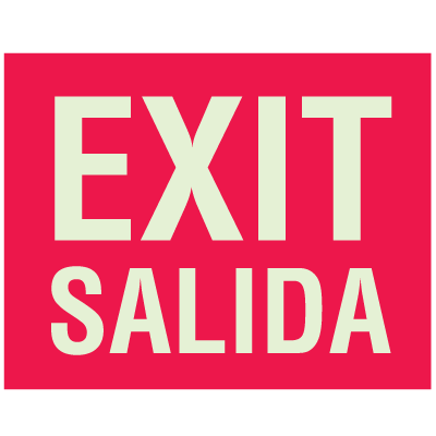 Exit Salida - Glow-In-The-Dark Fire Exit Sign