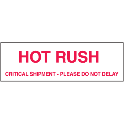Hot Rush Critical Shipment Shipping Labels
