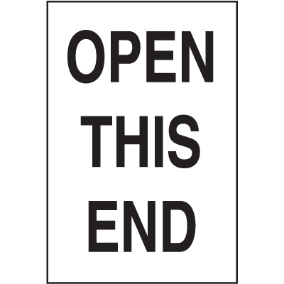 Open This End Shipping Labels