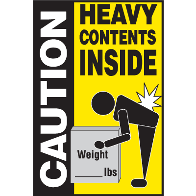 Caution Heavy Contents Inside Shipping Labels