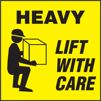 Heavy Lift With Care Shipping Labels