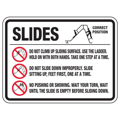Slides Do Not Climb - Playground Sign