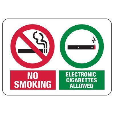 No Smoking Electronic Cigarettes Allowed - No Smoking Sign