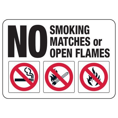 No Smoking Matches (Graphic) - Industrial Smoking Signs