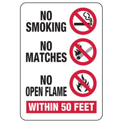 No Smoking No Matches Within 50 Feet - No Smoking Sign