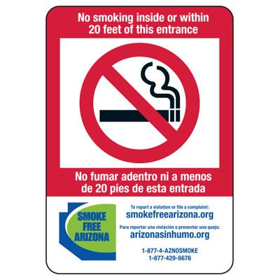 State Smoke-Free Law Signs - AZ No Smoking 20 Ft (Bilingual)