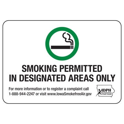 Iowa SmokingSigns-Smoking Permitted In Designated Areas Only