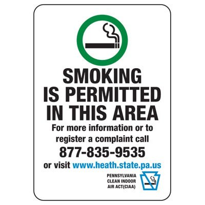 Pennsylvania Smoking Permitted In Area Sign