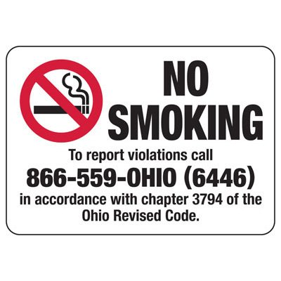 No Smoking (No Smoking Graphic) - Ohio No Smoking Sign