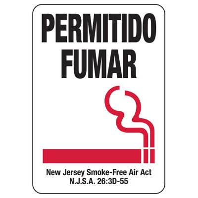 Permitido Fumar - New Jersey Spanish No Smoking Sign