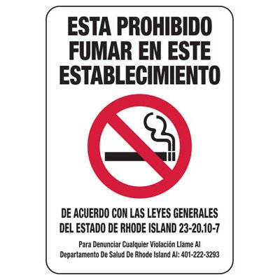Prohibido Fumar - Rhode Island Spanish No Smoking Sign