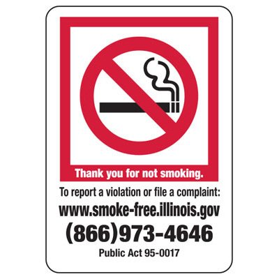 Thank You For Not Smoking - Illinois No Smoking Sign