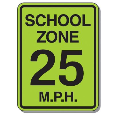 Speed Limit Signs - School Zone 25 Mph