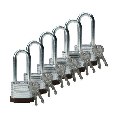 Brady Keyed Different 2 inch Shackle Steel Locks - Brown - Part Number - 102698 - 6/Pack