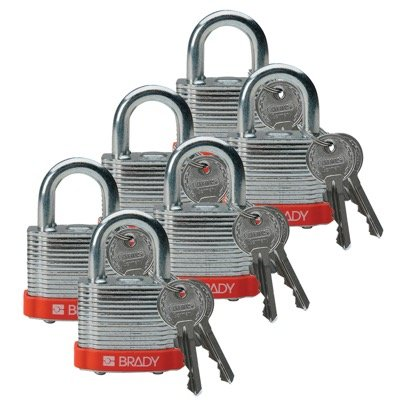 Brady Keyed Different Three Quarter inch Shackle Steel Locks - Orange - Part Number - 51283 - 6/Pack